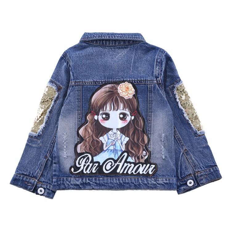 Toddler Kids Girls Denim Jean Fall Jacket Button Coat Outwear Tops Outwear 13Y Support Wholesale Children Clothes Blue Butterfly