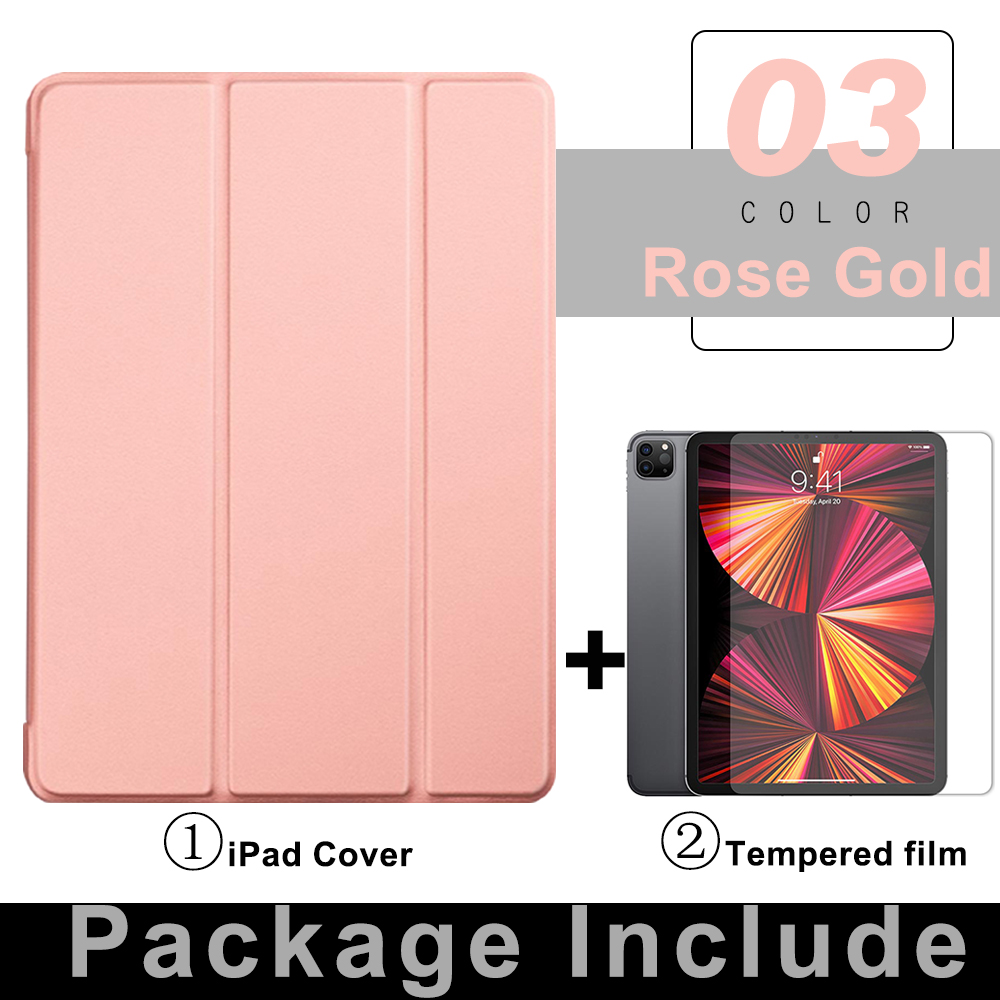 2 Rose Gold Orange For iPad Pro 11 Flip Tablet Case 2021 Stand Smart Cover Funda For iPad pro 11