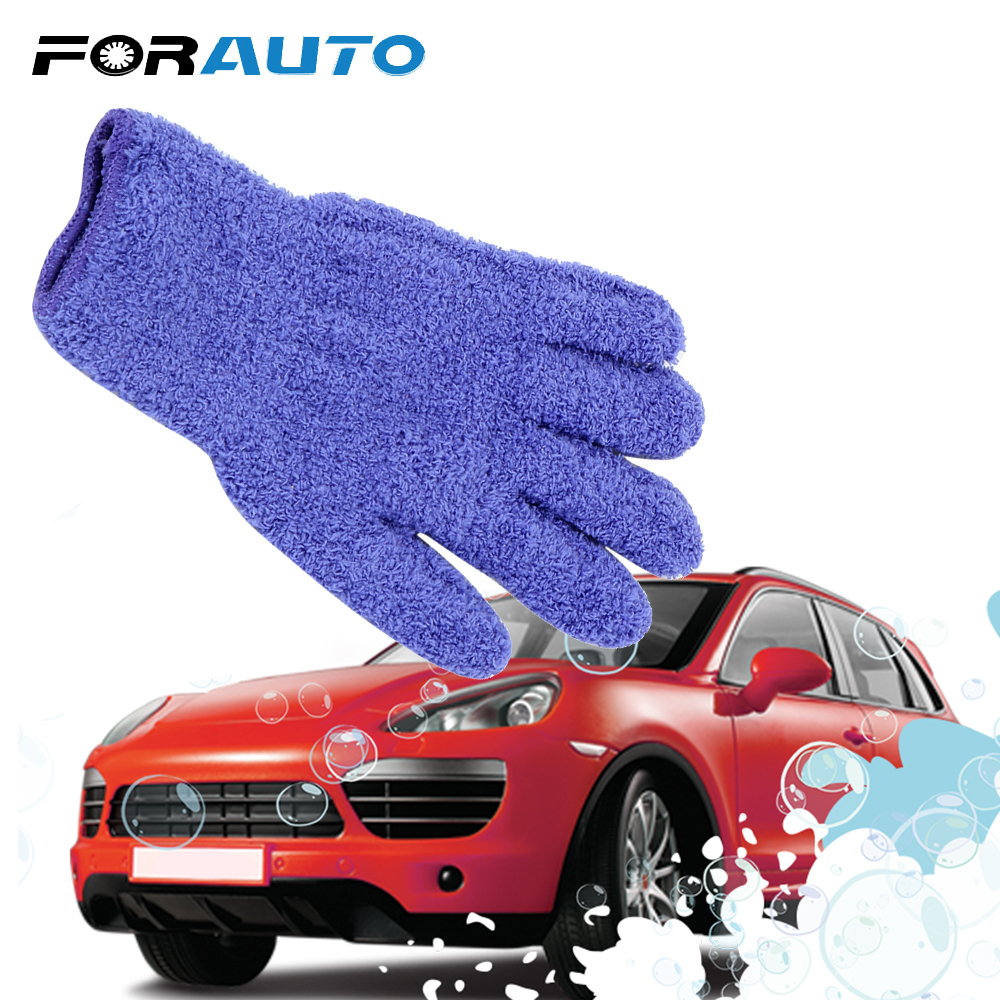 FORAUTO Car Wash Gloves Coral Velvet Knitted Washing Gloves Cleaning Tool Car Detailing Dust Removal Gloves Car Accessories