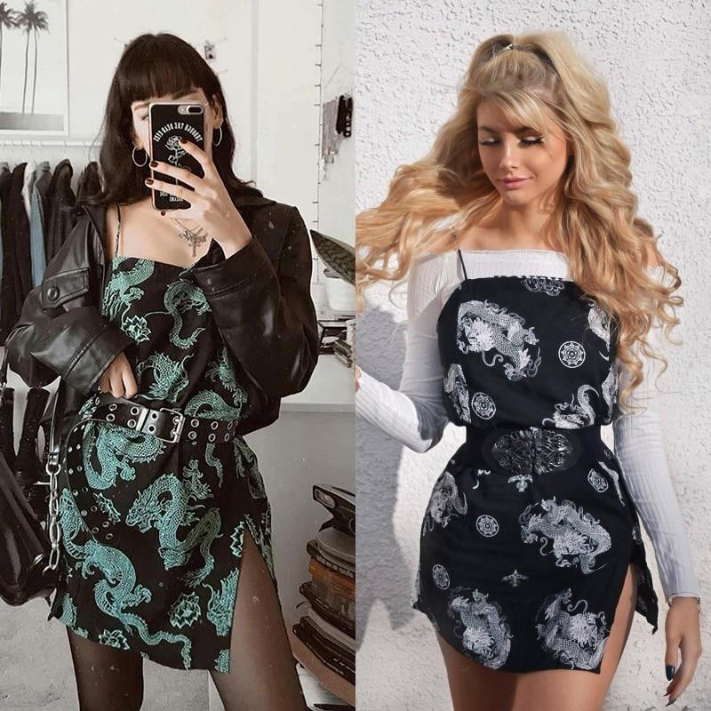فستان قصير بطبعة تنين عتيق للنساء ، فستان قصير ، أحزمة ، ملابس الشارع ، ملهى ليلي ، نحيف ، فستان سهرة ، Harajuku ، صيف 2020|Dresses| - AliExpress