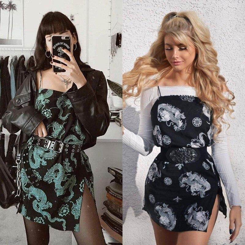 Vintage Drachen Gedruckt Mini Kleid Sommer 2020 Frauen Straße Strap Dresse Club Schlank Partei Tigh Kurze Kleid Harajuku Roben vestidos