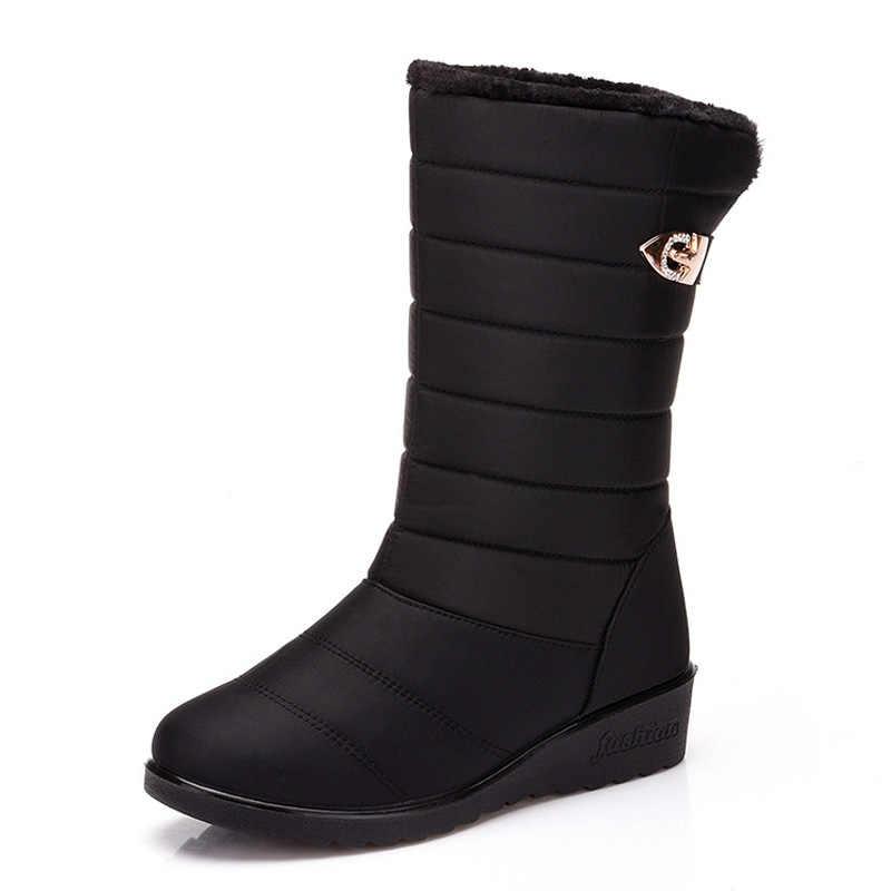 Botas de invierno a prueba de agua para mujer 2019 Botas de lluvia para zapatos de mujer calzado de piel caliente botas de nieve rojas para mujer botas de 35-40