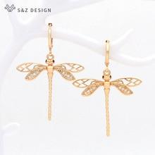 S&Z DESIGN Korean Fashion Dragonfly Peacock Owl Animal Dangle Earrings For Women Jewelry Champagne Gold Elegant Classic Earrings