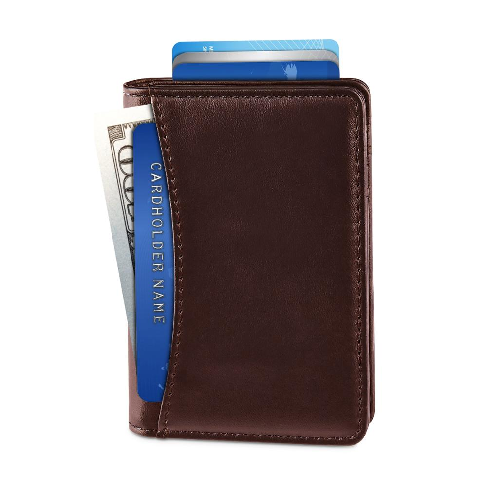 Edmen - Wallets For Men Slim Mens Genuine Leather RFID Blocking Minimalist Credit Card Holder Front Pocket Bifold Travel Thin