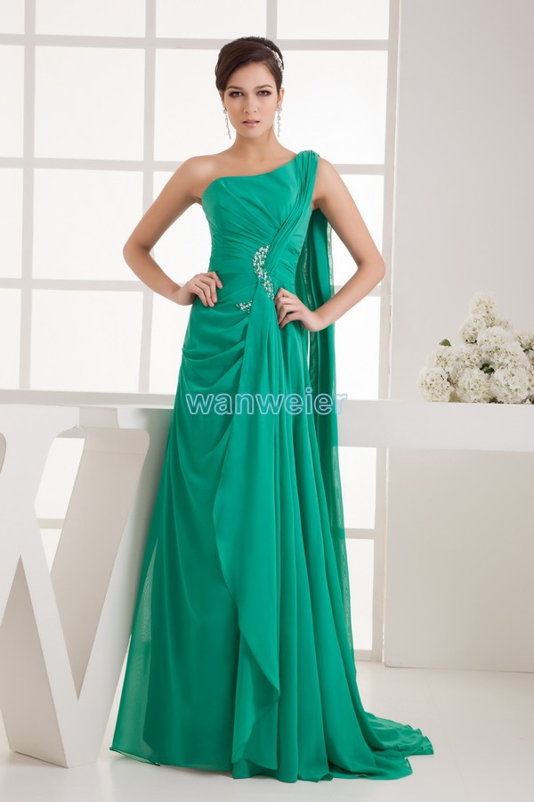 Free Shipping 2016 New High Quality Designer One Shoulder Beading Abaya Kaftan Bride Maid Dresses Chiffon Green Evening Dresses