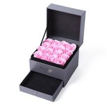 Купить с кэшбэком DIY Storage Box Double Layer with Eternal Pink Rose Gift Box Gift Preferred Gift Box Jewelry Display