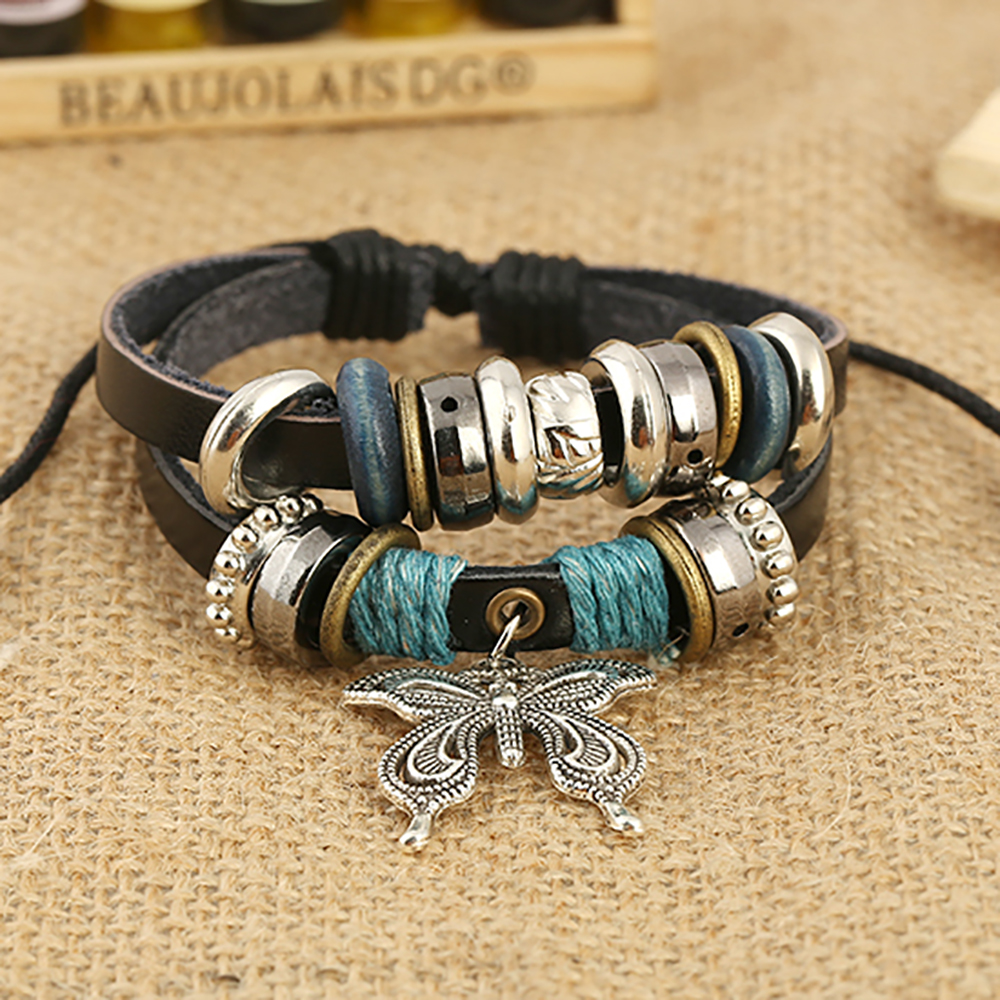Creative Butterfly Beaded Bracelet braided leather wristband for men adjustable Jewellery for women Individual student Bangles in Charm Bracelets from Jewelry Accessories