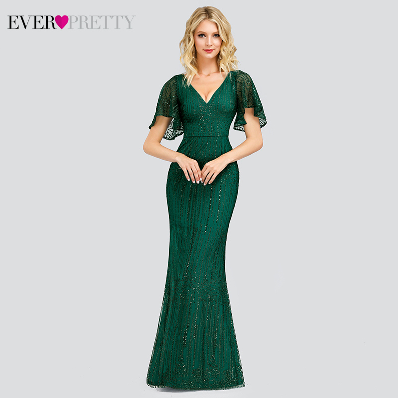 Elegant Mermaid Prom Dresses Long Ever Pretty Sequined V-Neck Short Sleeve Sparkle Formal Party Gowns Vestido Largo Elegante