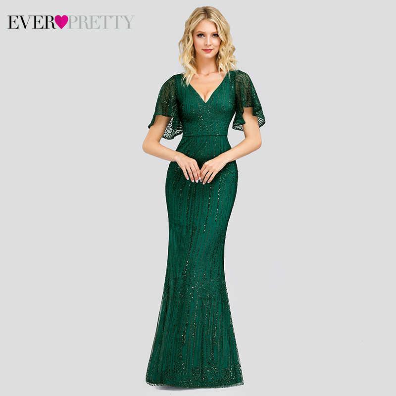 אלגנטי בת ים שמלות נשף ארוך פעם די נצנצים V-צוואר קצר שרוול Sparkle צד פורמלי שמלות Vestido לארגו Elegante