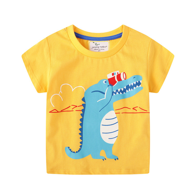 jumping meters Baby Boys Cartoon T shirt Kids New Tees Short Sleeve Summer Clothes With Printed Dinosaurs Top Children T shirts 23