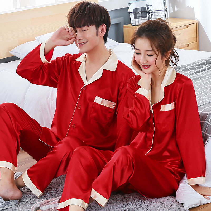 Clearance] Spring, Summer And Autumn Red Men And Women's Simulated Silk Pajamas, Silk Wedding Long Sleeve Home Clothes
