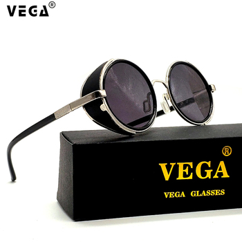 VEGA Eyeware gafas de cuero Steampunk negro redondo Vintage gafas de sol hombres mujeres círculo lentes góticos UV400 cristales tintados 2817