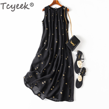 Tcyeek Summer Real Silk Dress Women Vintage Long Black Floral Dresses Femela Elegant Vestidos Ladies