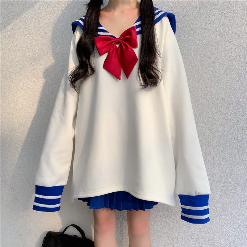 Japanese Cute Sailor Collar Oversized Hoodie Women Plus Size Harajuku Kawaii Sweatshirt Female Girl Lolita Anime Cosplay Clothes