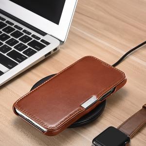 Image 5 - Retro Luxury Genuine Leather Metal Magnetic Flip Case for iPhone 11 Pro Max Xs Max XR X 8 7 Plus SE Original Mobile Phone Cover
