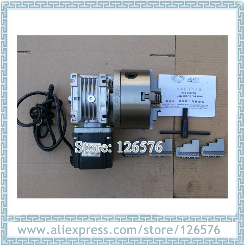 CNC Machine Rotary Axis 20:1 3 JAW 4 Jaw CHUCK 130mm With 86 Stepper Motor The 4th Axis