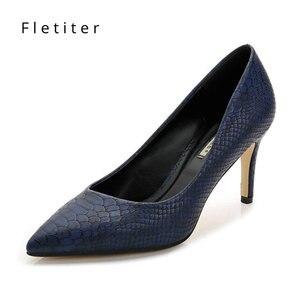 Image 1 - נשים נעלי עקבים גבוהים עור שמלת משאבות נעלי גבירותיי הבוהן מחודדת אלגנטי עבודה כחול משאבות עור אמיתי נעלי נשים Fletiter