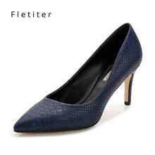Zapatos de tacón alto de piel auténtica para mujer, calzado elegante de punta estrecha, azul, para trabajo