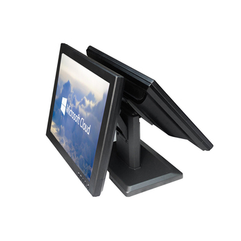 Double screen 15+15 inch ComPOSxb monitor for POS system black display dual screen commercal EPOS monitor display