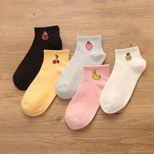 Chaussettes courtes en coton pour femme, 10 paires/ensemble, chaussettes à motif de Fruit mignon, couleur unie, Style dété, décontracté