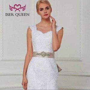 Image 5 - Çift omuz Cap Sleeve dantel Mermaid düğün elbisesi es kanat saf beyaz Custom Made büyüleyici gelin düğün elbisesi W0070