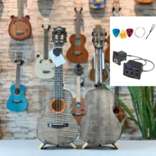 Electric-Guitar Ukulele Acoustic Solid Maple Top Concert 23-In Highgloss All-Figured