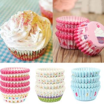 100Pcs/lot Paper Cake Cupcake Baking Muffin Box Cup Case Party Tray Cake Mold Decor Tools 4 Types to Choose image