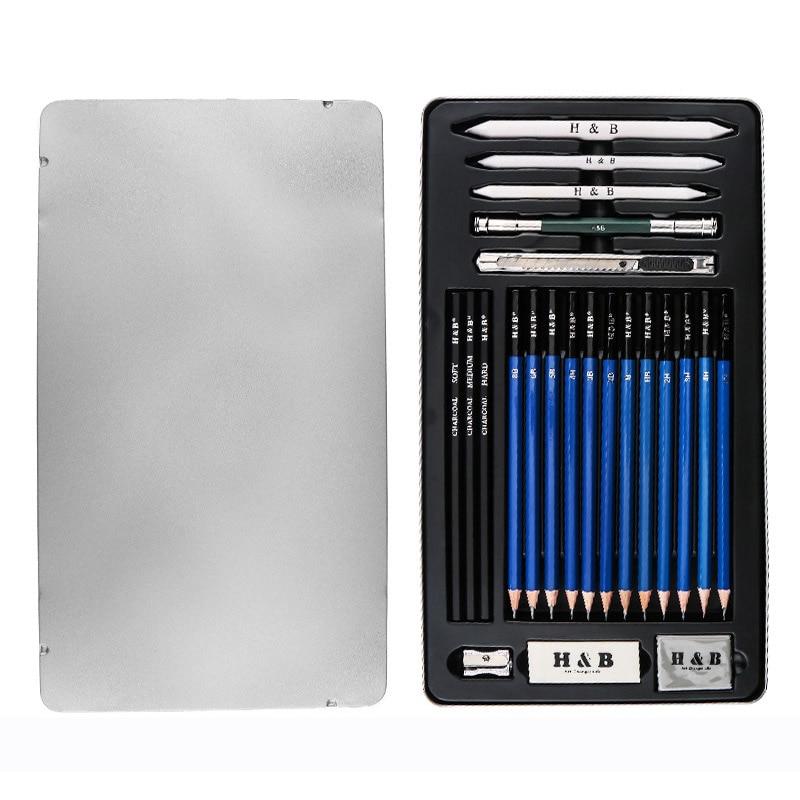 Художественный Эскиз карандаша школьные товары для рукоделия деревянные чертежные карандаши для рисования Начинающий художник угольный карандаш Lron коробка Канцелярский набор подарок - Характеристики: Pencil set