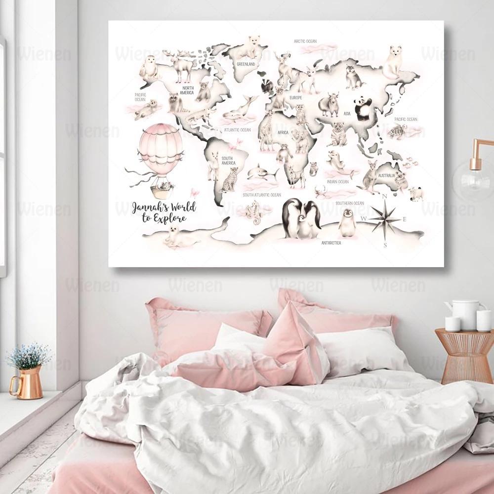 Настенный художественный постер для детской комнаты, Карта мира с лесными животными, Картина на холсте, детская Акварельная карта, картина ...