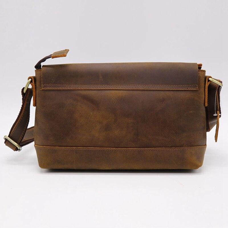 Crazy Horse кожаная мужская сумка через плечо из воловьей кожи женская сумка мессенджер Наплечная Сумка пакет для магазина путешествия унисекс - 4