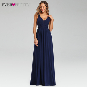 Image 4 - Elegant Navy Blue Evening Dresses Ever Pretty EP07599NB Double V Neck Sleeveless Draped Lace Formal Party Gowns Abendkleider
