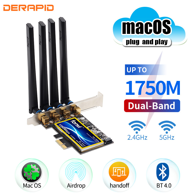 Fenvi T919 BCM94360CD 1750Mbps PCIe Wireless Adapter Handoff MacOS Hackintosh 802.11ac Dual Band 2.4/5Ghz Bluetooth4.0 WiFi Card(China)