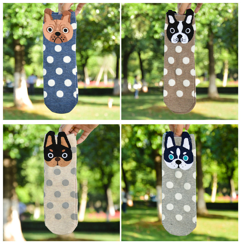 Pure Cotton Female Socks Cute Paparazzi Dot Pattern Girl Cotton Socks Cartoon Animal Personality Trend Tube Socks