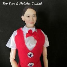 1/6 Asia Girl Smile Cute Female Head Carving Pale Face Haircut pvc Hair flight attendant head Fit 12