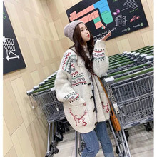 New autumn/winter 2019 Christmas knitted cardigan women's loose temperament casual cartoon jacquard knitwear knit sweater women loose fitting tribal jacquard cardigan page 7