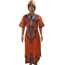 MD embroidery dresses for women party wedding dashiki african dress with head tie 2019