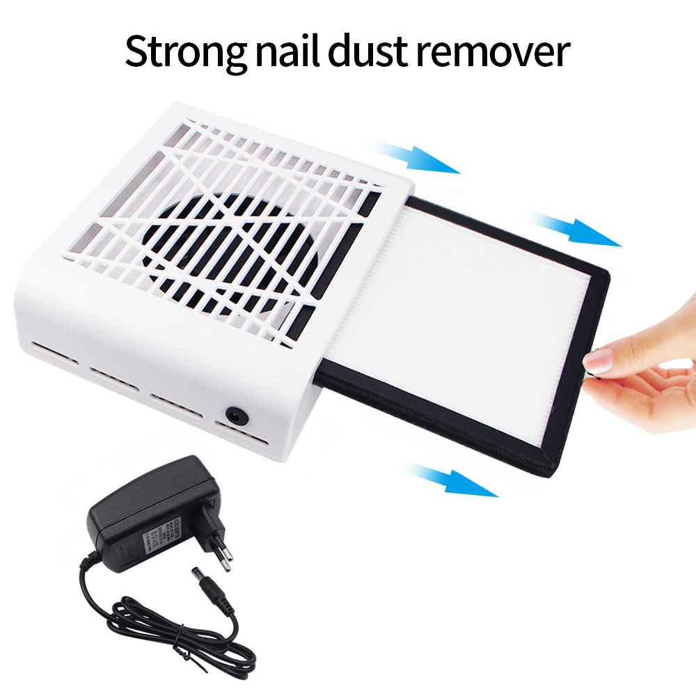 60W Nail Dust Collector Vacuum Cleaner Strong 4500RPM Nail Dust Remover Nail Machine Salon Nail Art Fan Tools Reusable Filter