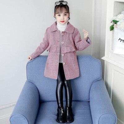 Стеганое шерстяное пальто для девочек; теплое пальто в клетку для девочек; модное длинное шерстяное пальто для девочек; стеганая шерстяная ветровка для девочек - Цвет: Красный