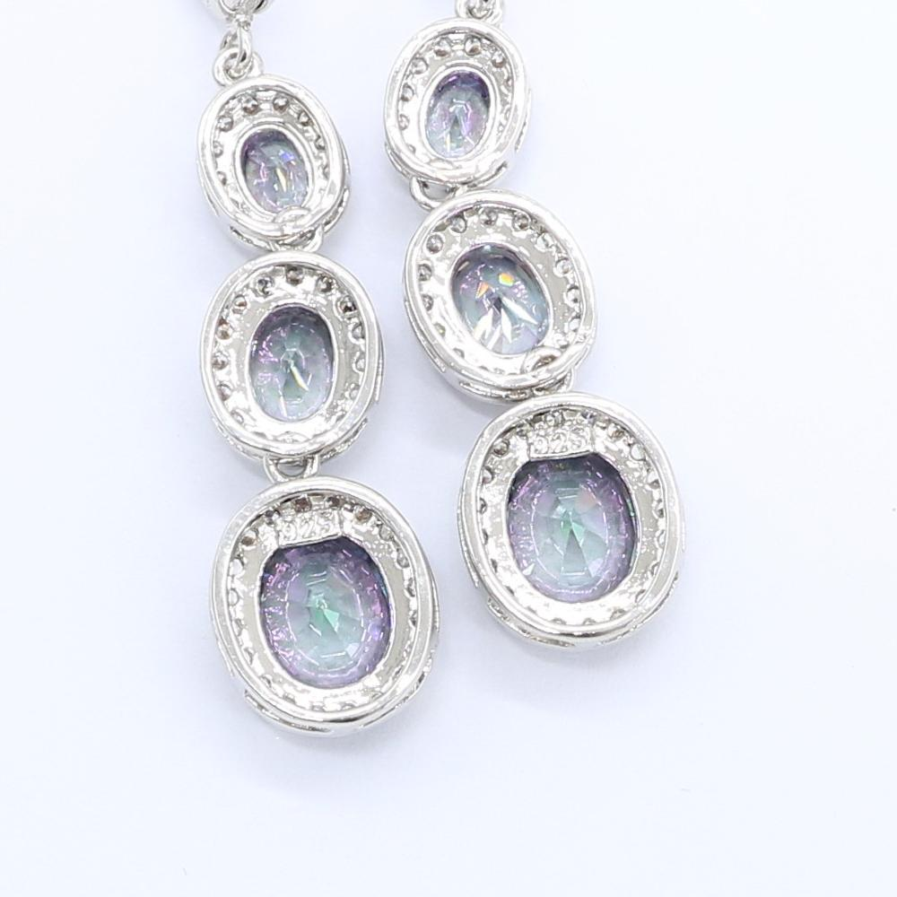 Rainbow Sky Blue Topaz 925 Silver Earrings for Women Birthday Party Jewelry Free Gift