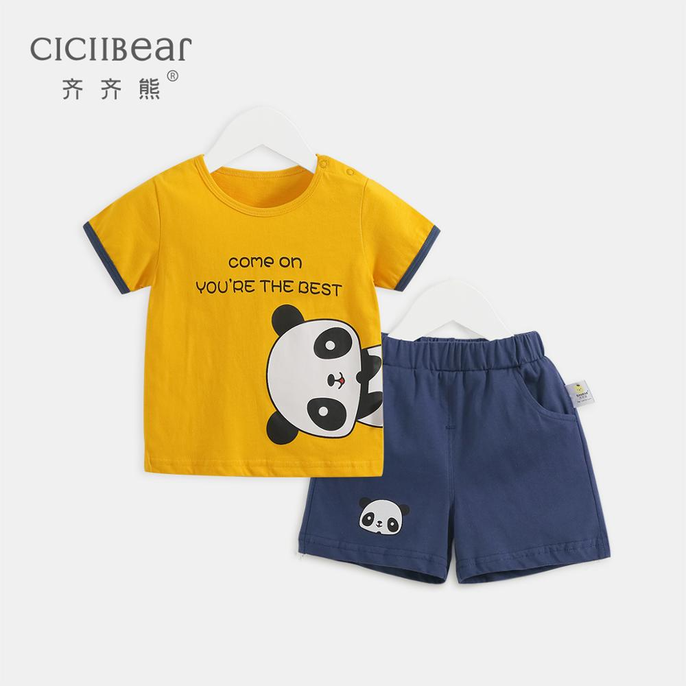 Ciciibear 2020 New Summer Boy Children's Clothes Set Quality Short Sleeve Girls Clothes Body Suit Cartoon Kids Boy Clothes