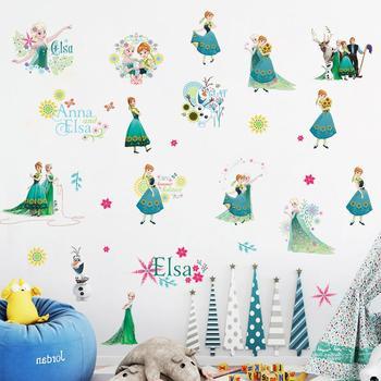 Cartoon Princess Elsa Wall Stickers for Kids Rooms Girls Bedroom Poster Vinyl DIY Mural Art Adesivo de parede Decal Baby Nursery 26