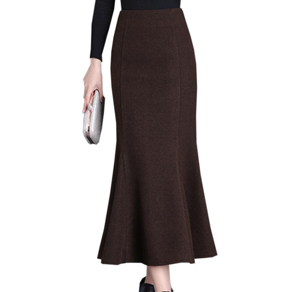 New Ladies Elegant Winter Maxi Skirts Women Woolen Long Skirt High Waist Mermaid OL Skirt