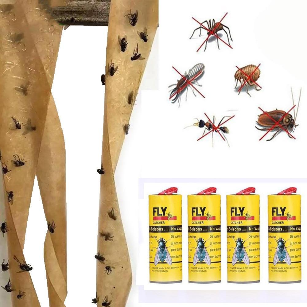 Fly-çıkartmalar tuzak kağıt alıcı 4 rulo yapışkan sinek kağıt ortadan kaldırmak sinekler böcek böcek tutkallı kağıt Catcher uçan böcek tuzak # Y10