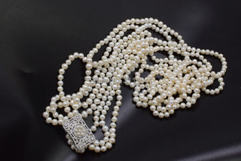 4 filas de agua dulce perla blanca cerca de 7-8mm collar largo 35-40 pulgadas FPPJ cuentas al por mayor la naturaleza