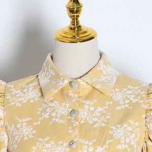 Image 3 - TWOTWINSTYLE 자수 히트 색상 여성용 블라우스 옷 깃 칼라 퍼프 긴 소매 슬림 셔츠 여성 2020 패션 의류 조수