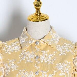 Image 3 - TWOTWINSTYLE Stickerei Hit Farbe frauen Blusen Revers Kragen Puff Langarm Dünne Hemden Für Weibliche 2020 Mode Kleidung Flut