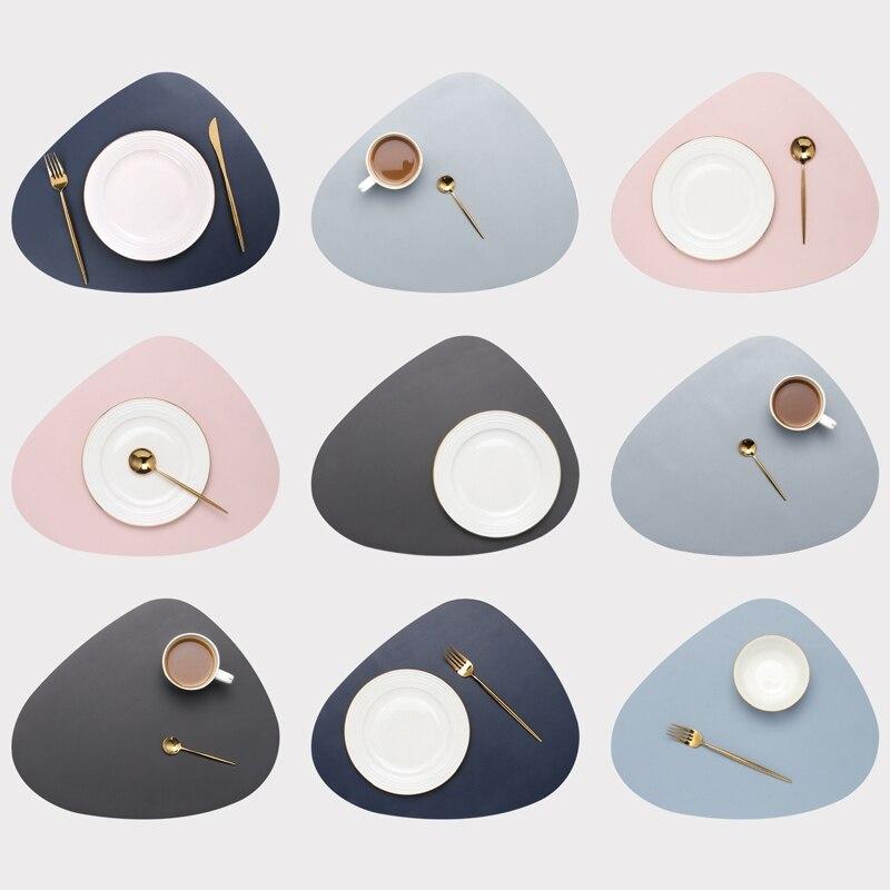 Skórzane podkładki podkładki na stół olej odporne na ciepło izolacja antypoślizgowa Tablemat zestaw podkładek do kuchni zmywalne podkładki pod kubki