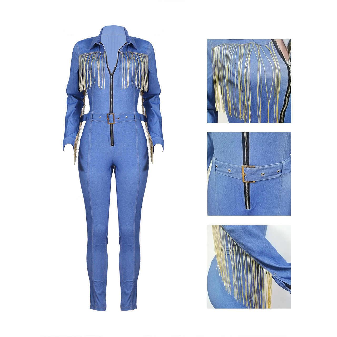Ropa de otoño para mujer monos de Vaqueros cintura alta delgados jerseys solapa bolsillo mono Denim azul Club nocturno mamelucos de talla grande
