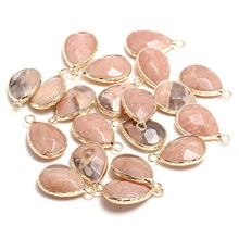 2Pcs New Semi-Precious Stones Drop-Shaped Faceted Natural Pendants Making for Jewelry Necklace Accessories For Women Size13x23mm