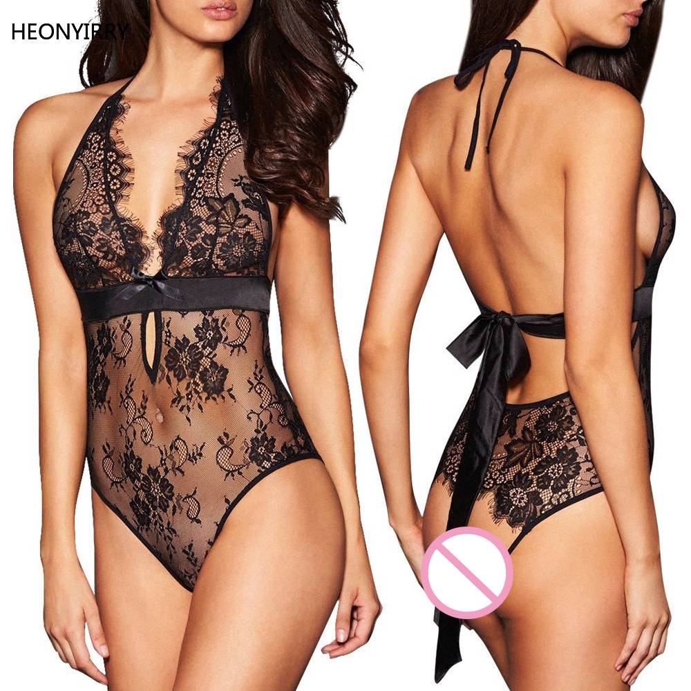 Sexy Lingerie Backless Latex Lace Babydoll Open Crotch Underwear Black Lingerie Rhinestone Bra Straps Extenders Shoulder Cross